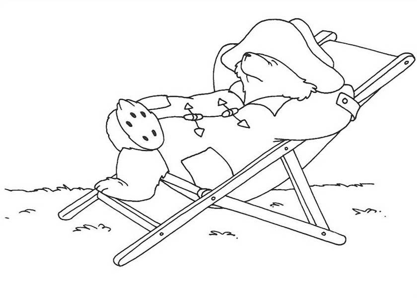 Paddington Bear, : Paddington Bear Lazy Day Coloring Page