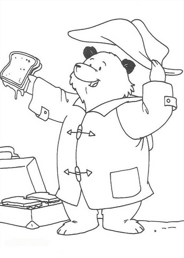 Paddington Bear, : Paddington Bear Open His Lunch Coloring Page