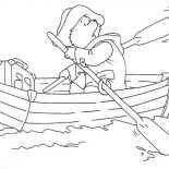 Paddington Bear, Paddington Bear Paddling In The Of The Lake Coloring Page: Paddington Bear Paddling in the of the Lake Coloring Page