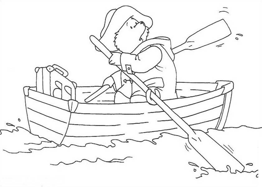 Paddington Bear, : Paddington Bear Paddling in the of the Lake Coloring Page