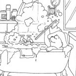 Paddington Bear, Paddington Bear Play With Buble In Bathtub Coloring Page: Paddington Bear Play with Buble in Bathtub Coloring Page