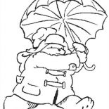 Paddington Bear, Paddington Bear Running Away With Umbrella Coloring Page: Paddington Bear Running Away with Umbrella Coloring Page