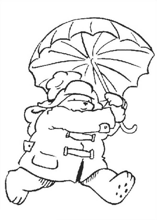 Paddington Bear, : Paddington Bear Running Away with Umbrella Coloring Page