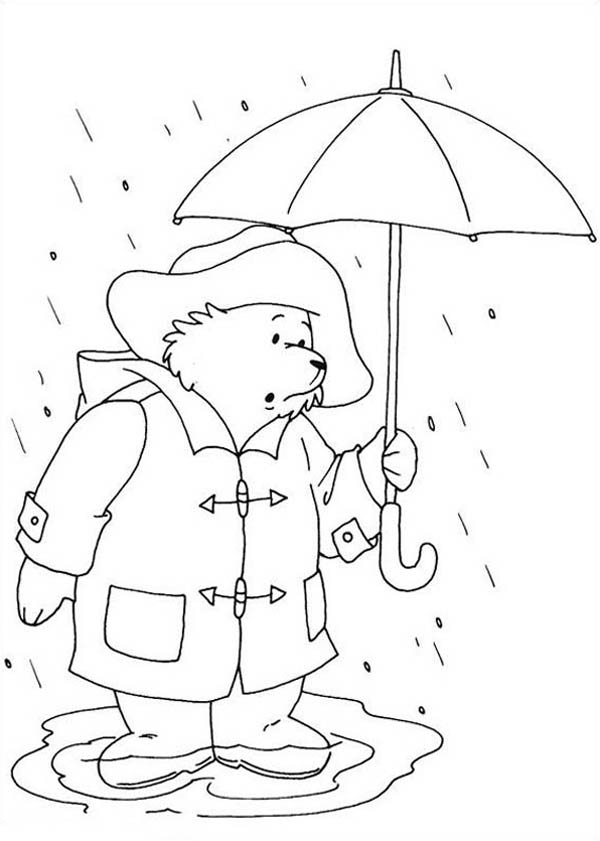 Paddington Bear, : Paddington Bear Stuck on Flood Coloring Page