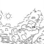 Paddington Bear, Paddington Bear Sun Bathing In The Back Yard Coloring Page: Paddington Bear Sun Bathing in the Back Yard Coloring Page
