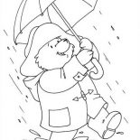 Paddington Bear, Paddington Bear Walking Around On Rainy Day Coloring Page: Paddington Bear Walking Around on Rainy Day Coloring Page