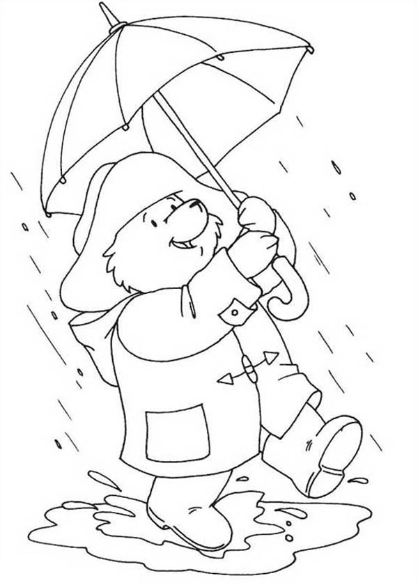 Paddington Bear, : Paddington Bear Walking Around on Rainy Day Coloring Page