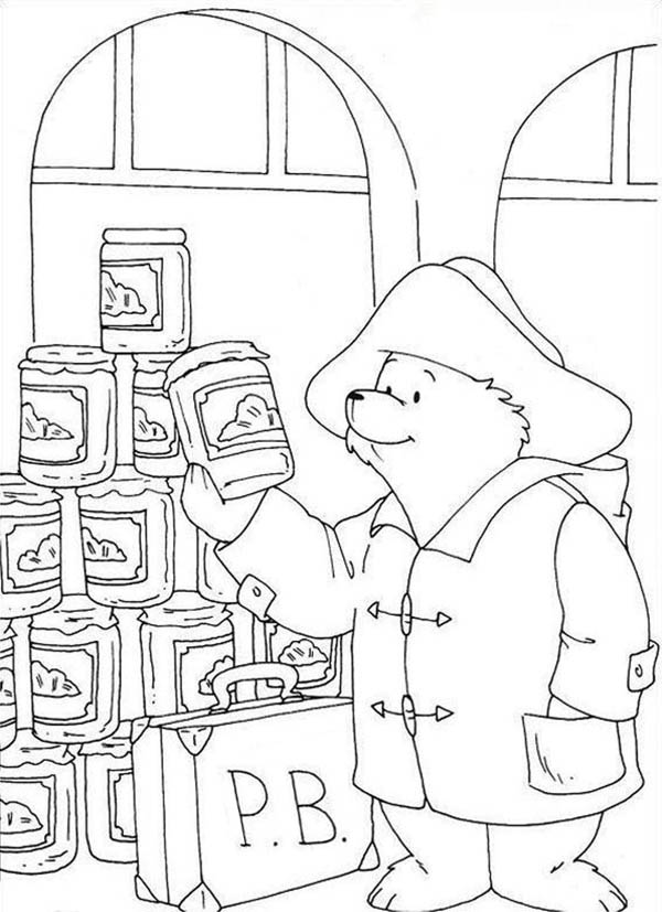 Paddington Bear, : Paddington Bear Want to Buy Some Honey Coloring Page