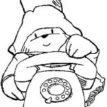 Paddington Bear, Paddington Bear Want To Make A Call Coloring Page: Paddington Bear Want to Make a Call Coloring Page