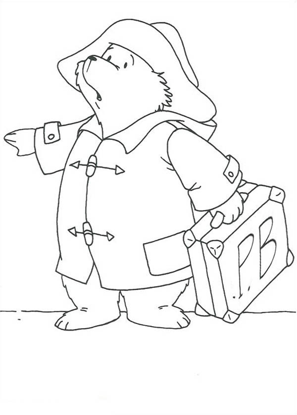 Paddington Bear Want To Travel Out Of Town Coloring Page