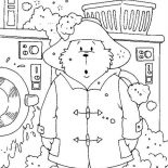 Paddington Bear, Paddington Bear Washing His Clothes With Wash Machine Coloring Page: Paddington Bear Washing His Clothes with Wash Machine Coloring Page