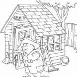 Paddington Bear, Paddington Bear In Front Of Warehouse Coloring Page: Paddington Bear in Front of Warehouse Coloring Page