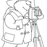 Paddington Bear, Paddington Bear The Photographer Coloring Page: Paddington Bear the Photographer Coloring Page