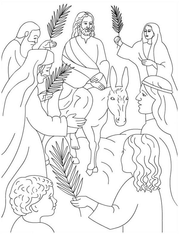 Palm Sunday, : Palm Sunday Coloring Page for Kids