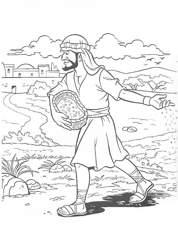 Parable of the Sower, : Parable of the Sower Coloring Page for Kids