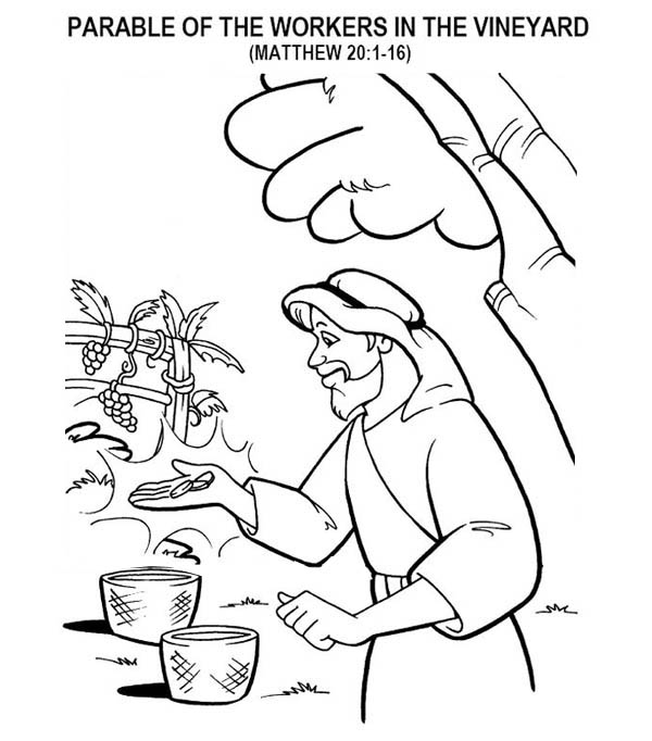 Parable of the Sower, : Parable of the Workers in the Vineyard in Parable of the Sower Coloring Page