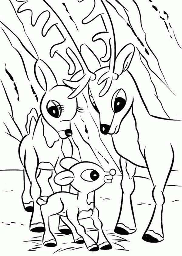 Rudolph, : Parents of Rudolph the Red Nosed Reindeer Coloring Page