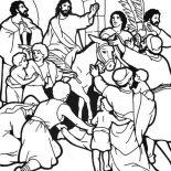 Palm Sunday, People Worship Jesus In Jerusalem In Palm Sunday Coloring Page: People Worship Jesus in Jerusalem in Palm Sunday Coloring Page