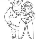 Shrek, Perfect Couple Shrek And Princess Fiona Coloring Page: Perfect Couple Shrek and Princess Fiona Coloring Page