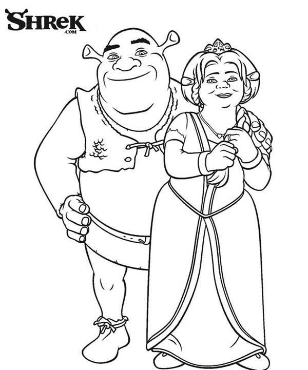 Shrek, : Perfect Couple Shrek and Princess Fiona Coloring Page