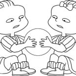 Rugrats, Phil And Lil Quarrel For A Ball In Rugrats Coloring Page: Phil and Lil Quarrel for a Ball in Rugrats Coloring Page