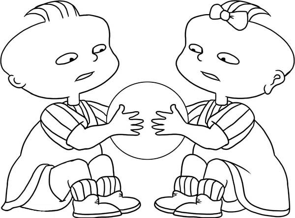Rugrats, : Phil and Lil Quarrel for a Ball in Rugrats Coloring Page