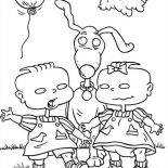Rugrats, Phil And Lil Release A Balloon In Rugrats Coloring Page: Phil and Lil Release a Balloon in Rugrats Coloring Page