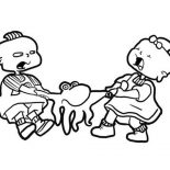 Rugrats, Phil And Lil De Ville Quarrel For Octopus Toy In Rugrats Coloring Page: Phil and Lil de Ville Quarrel for Octopus Toy in Rugrats Coloring Page