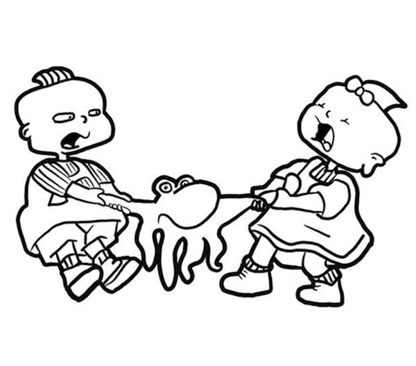 Rugrats, : Phil and Lil de Ville Quarrel for Octopus Toy in Rugrats Coloring Page