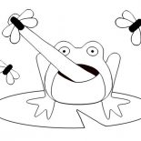 Lily Pad, Picture Of Frog On Lily Pad Catching Flies Coloring Page: Picture of Frog on Lily Pad Catching Flies Coloring Page
