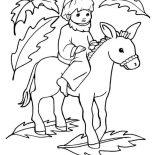 Palm Sunday, Picture Of Jesus On A Donkey Palm Sunday Coloring Page: Picture of Jesus on a Donkey Palm Sunday Coloring Page