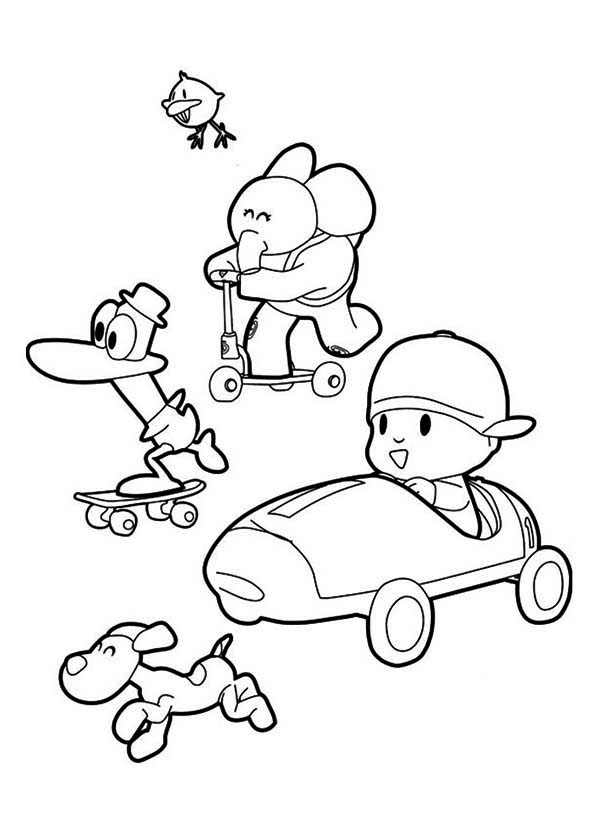 Pocoyo, : Picture of Pocoyo and Friends Coloring Page