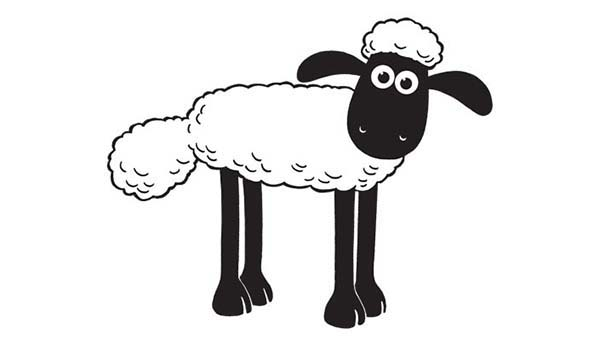 Shaun the Sheep, : Picture of Shaun the Sheep Coloring Page