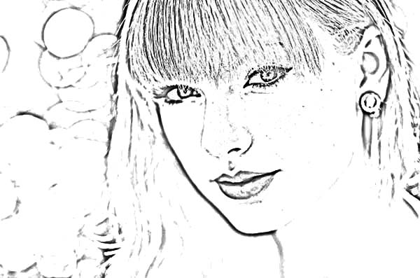 Taylor Swift, : Picture of Taylor Swift Coloring Page