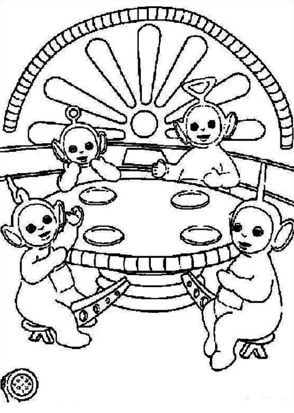 Teletubbies, : Picture of the Teletubbies Coloring Page