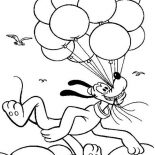 Pluto, Pluto Flying With A Lot Of Balloons Coloring Page: Pluto Flying with a Lot of Balloons Coloring Page