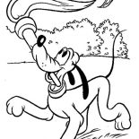 Pluto, Pluto The Dog Play With Torch Coloring Page: Pluto the Dog Play with Torch Coloring Page