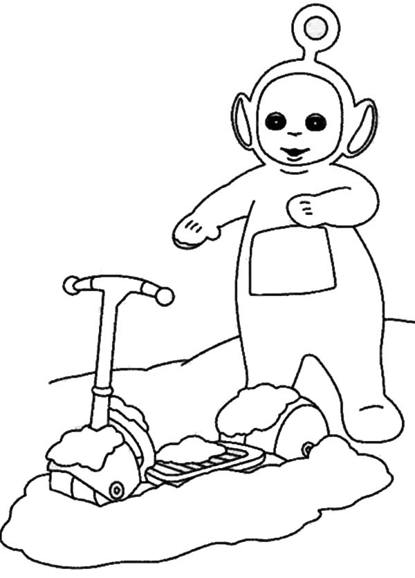 Teletubbies, : Po Scooter Covered with Snow in the Teletubbies Coloring Page