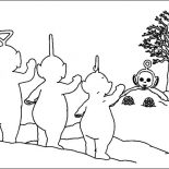 Teletubbies, Po Is Hiding From The Other Teletubbies Coloring Page: Po is Hiding from the Other Teletubbies Coloring Page