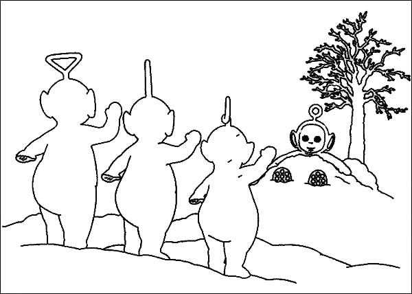 Teletubbies, : Po is Hiding from the Other Teletubbies Coloring Page