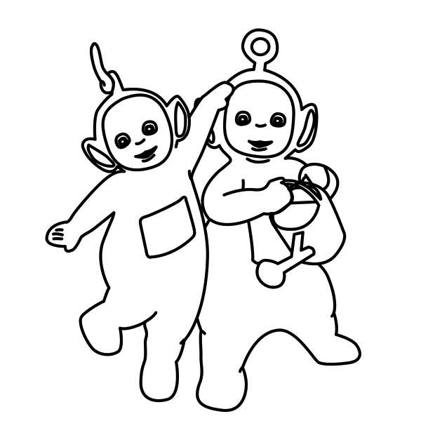 Teletubbies, : Po is More Higher Than Laa Laa in the Teletubbies Coloring Page