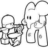 Pocoyo, Pocoyo Checking Patos Health Coloring Page: Pocoyo Checking Patos Health Coloring Page