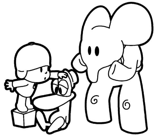 Pocoyo, : Pocoyo Checking Patos Health Coloring Page