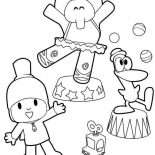 Pocoyo, Pocoyo Doing Circus With His Friends Coloring Page: Pocoyo Doing Circus with His Friends Coloring Page