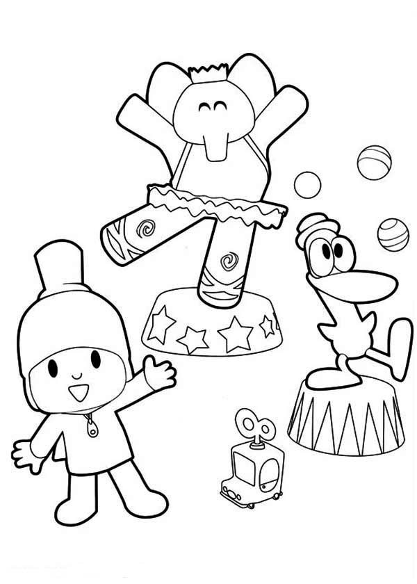 Pocoyo Doing Circus With His Friends Coloring Page : Color Luna