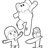 Pocoyo, Pocoyo Elly And Pato Play Ball Together Coloring Page: Pocoyo Elly and Pato Play Ball Together Coloring Page