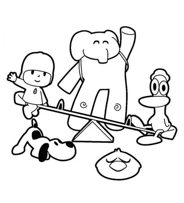 Pocoyo, : Pocoyo Hangout with His Friends Coloring Page