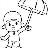 Pocoyo, Pocoyo Has An Umbrella Coloring Page: Pocoyo Has an Umbrella Coloring Page