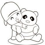 Pocoyo, Pocoyo Hug A Panda Coloring Page: Pocoyo Hug a Panda Coloring Page
