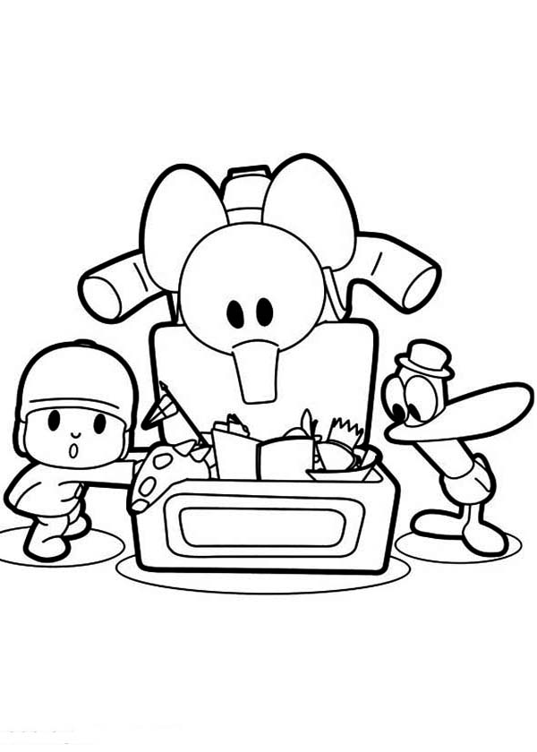Pocoyo, : Pocoyo Pato and Elly Found a Lot of Toys Coloring Page